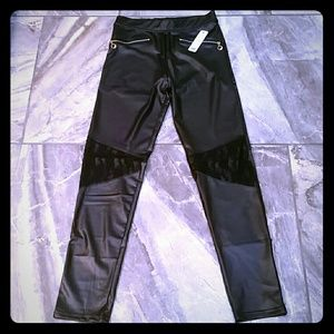 Pants - LAST ONE! MIDNIGHT SPANDEX LEATHER & LACE PANTS